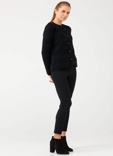 Sementa Önden Düğmeli Kadın Triko Hırka - Siyah Siyah